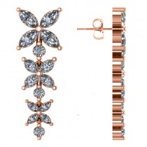 Diamond Flower Marquise Drop Dangle Earrings 14K Rose Gold (6.00ct)