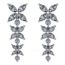 Diamond Flower Marquise Drop Dangle Earrings 14K White Gold (6.00ct)