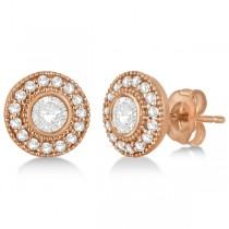 Vintage Diamond Halo Stud Earrings Bezel Set 14k Rose Gold (0.77ct)