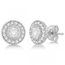 Vintage Diamond Halo Stud Earrings Bezel Set 14k White Gold (0.77ct)