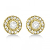 Vintage Diamond Halo Stud Earrings Bezel Set 14k Yellow Gold (0.77ct)