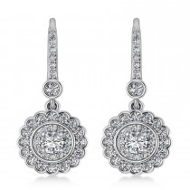 Diamond Double Halo Drop Earrings 14K White Gold (1.60ct)