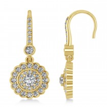 Diamond Double Halo Drop Earrings 14K Yellow Gold (1.60ct)