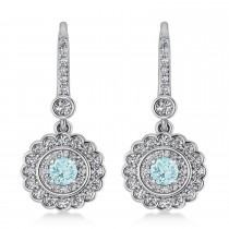 Diamond & Aquamarine Double Halo Drop Earrings 14K White Gold (1.60ct)