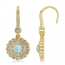Diamond & Aquamarine Double Halo Drop Earrings 14K Yellow Gold (1.60ct)