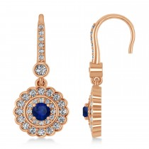 Diamond & Blue Sapphire Halo Drop Earrings 14K Rose Gold (1.60ct)