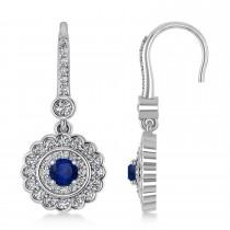 Diamond & Blue Sapphire Halo Drop Earrings 14K White Gold (1.60ct)
