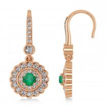 Diamond & Emerald Double Halo Drop Earrings 14K Rose Gold (1.60ct)