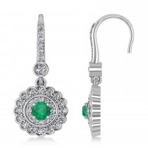 Diamond & Emerald Double Halo Drop Earrings 14K White Gold (1.60ct)