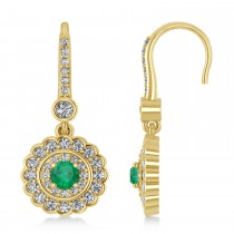 Diamond & Emerald Double Halo Drop Earrings 14K Yellow Gold (1.60ct)