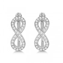 Diamond Infinity Style Hinged Hoop Earrings 14k White Gold 0.33ct