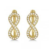 Diamond Infinity Style Hinged Hoop Earrings 14k Yellow Gold 0.33ct