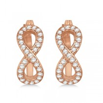 Infinity Shaped Hinged Hoop Diamond Earrings 14k Rose Gold 0.50ct
