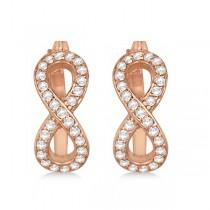 Infinity Shaped Hinged Hoop Diamond Earrings 14k Rose Gold 0.50ct
