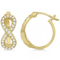 Infinity Shaped Hinged Hoop Diamond Earrings 14k Yellow Gold 0.50ct
