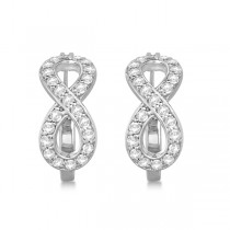 Infinity Shaped Hinged Hoop Diamond Earrings 14k White Gold 0.75ct