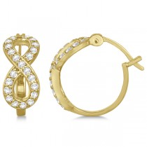 Infinity Shaped Hinged Hoop Diamond Earrings 14k Yellow Gold 0.75ct