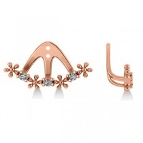 Diamond Flower Jacket Earrings 14k Rose Gold (0.18ct)
