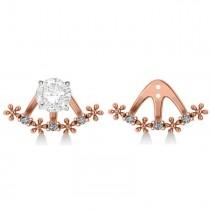 Diamond Flower Jacket Earrings 14k Rose Gold (0.18ct)