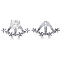 Diamond Flower Jacket Earrings 14k White Gold (0.18ct)