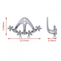 Diamond Flower Jacket Earrings 14k White Gold (0.18ct)