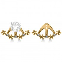 Diamond Flower Jacket Earrings 14k Yellow Gold (0.18ct)