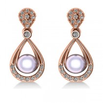 Pearl & Diamond Tear Drop Earrings 14k Rose Gold (0.39ct)