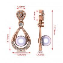 Pearl & Diamond Tear Drop Earrings 14k Rose Gold (0.39ct)