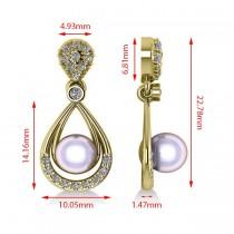 Pearl & Diamond Tear Drop Earrings 14k Yellow Gold (0.39ct)