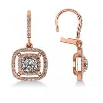 Diamond Double Halo Dangling Earrings 14k Rose Gold (3.00ct)