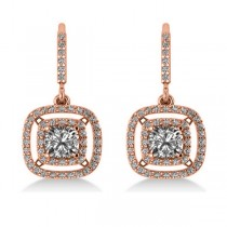 Diamond Double Halo Dangling Earrings 14k Rose Gold (3.00ct)