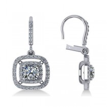 Diamond Double Halo Dangling Earrings 14k White Gold (3.00ct)