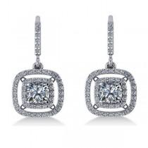 Diamond Double Halo Dangling Earrings 14k White Gold (3.00ct)