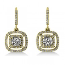Diamond Double Halo Dangling Earrings 14k Yellow Gold (3.00ct)