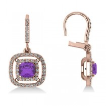 Amethyst & Diamond Double Halo Dangling Earrings 14k R Gold (3.00ct)