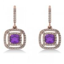 Amethyst & Diamond Double Halo Dangling Earrings 14k R Gold (3.00ct)