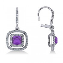 Amethyst & Diamond Double Halo Dangling Earrings 14k W Gold (3.00ct)