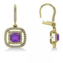 Amethyst & Diamond Double Halo Dangling Earrings 14k Y Gold (3.00ct)