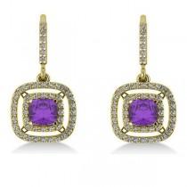 Amethyst & Diamond Double Halo Dangling Earrings 14k Y Gold (3.00ct)