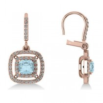 Aquamarine & Diamond Double Halo Dangling Earrings 14k R Gold (3.00ct)