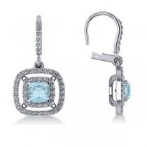 Aquamarine & Diamond Double Halo Dangling Earrings 14k W Gold (3.00ct)