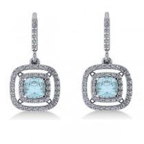 Aquamarine & Diamond Double Halo Dangling Earrings 14k W Gold (3.00ct)