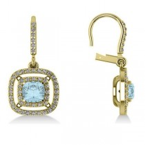 Aquamarine & Diamond Double Halo Dangling Earrings 14k Y Gold (3.00ct)