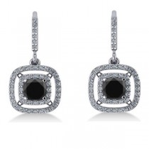 White & Black Diamond Halo Dangling Earrings 14k White Gold (3.00ct)