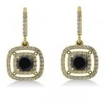 White & Black Diamond Halo Dangling Earrings 14k Yellow Gold (3.00ct)