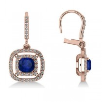 Blue Sapphire & Diamond Halo Dangling Earrings 14k Rose Gold (3.00ct)