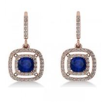 Blue Sapphire & Diamond Halo Dangling Earrings 14k Rose Gold (3.00ct)