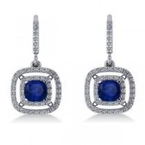 Blue Sapphire & Diamond Halo Dangling Earrings 14k White Gold (3.00ct)