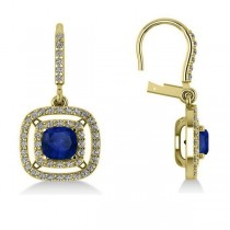 Blue Sapphire & Diamond Halo Dangling Earrings 14k Yellow Gold (3.00ct)