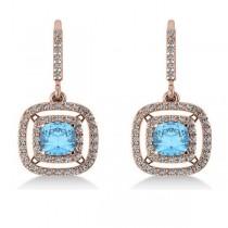 Blue Topaz & Diamond Double Halo Dangling Earrings 14k R Gold (3.00ct)
